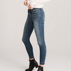 Abercrombie and Fitch Harper Ankle Raw Hem Jeans